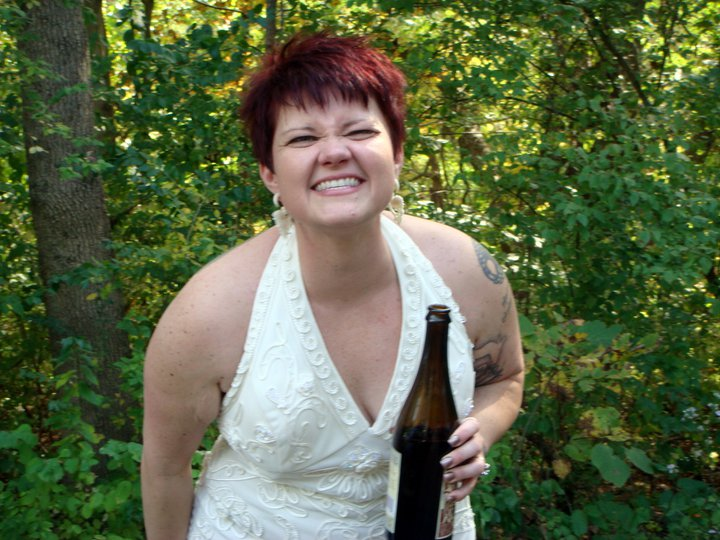 Yes, that's me, with a bottle of hard cider. In my wedding dress....before the ceremony.