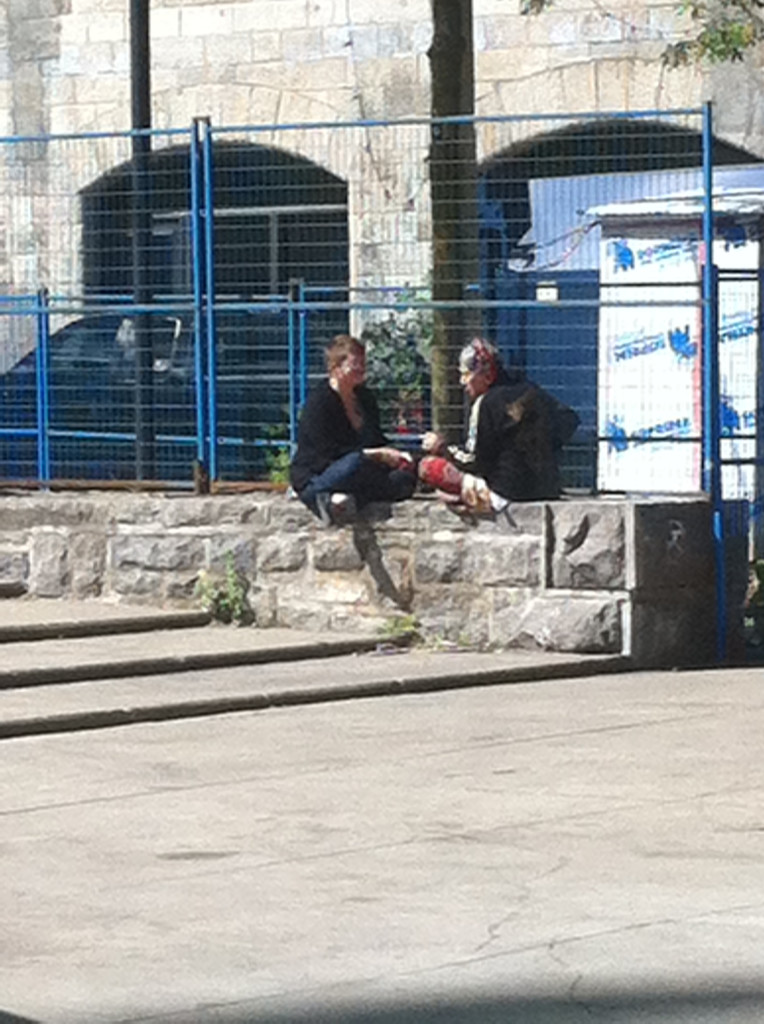Sitting on the wall with Loretta, 2013